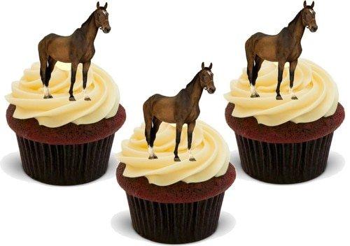 AUSCHNITT VON EINEM BRAUEN PFERD - 12 essbare hochwertige stehende Waffeln Kuchen Toppers - Brown Horse Cutout (Cake Essbar Topper)