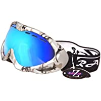 Rayzor professionnels UV400 doubles lensed ski / snowboard Lunettes, avec un cadre bleu mat de camouflage avec un anti brouillard, ventilé bleu fumé antireflet Clarity large Vision Lentille