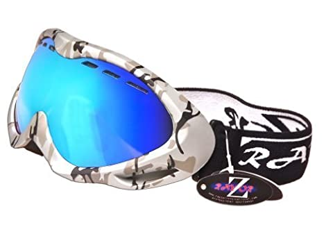 Rayzor Professional UV400 Double Lensed Ski / SnowBoard Goggles, With a Silver Camouflage Frame and an Anti Fog Coated, Vented Blue Iridium Mirrored Anti-Glare Wide Vision Clarity Lens.