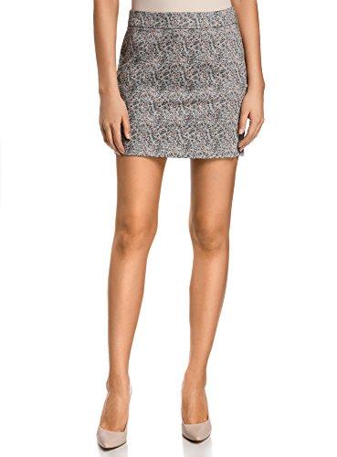 oodji Ultra Mujer Minifalda de Tejido de Algodón, Gris, ES 42 / L