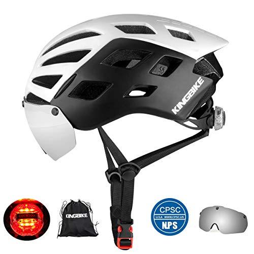 KING BIKE Fahrradhelm mit Abnehmbaren Schutzbrille Schild Visier Damen Herren UV400 Schutz Kann kann über die Brille Weiß