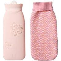 Vosarea Silikon Wärmflasche mit Bezug Bettflaschen Strickbezug Handwärmer Taschenwärmer (Rosa) preisvergleich bei billige-tabletten.eu