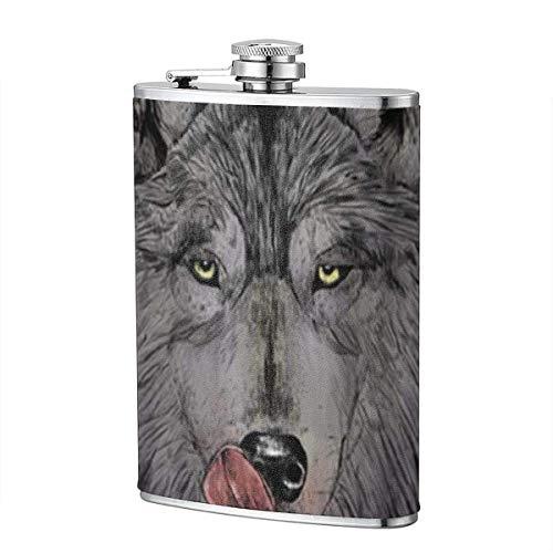 Hungriger Wolf 8-Unzen-Taschen-Flachmann aus auslaufsicherem Flagon-Edelstahl -