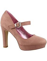 Elara Ndash; Zapatos de TACón Alto con Correa EN el Empeine, cóModos | chunkyrayan