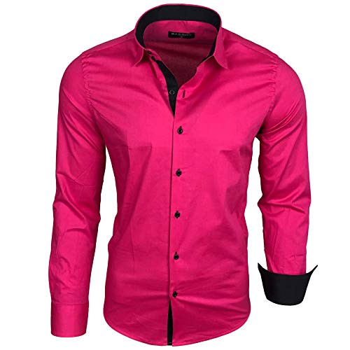 Baxboy Herren Kontrast Basic Hemden Business Freizeit Langarm Anzug Hochzeit Hemd R-44, Größen:M, Farbe:Pink