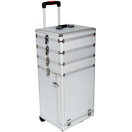 Preisvergleich Produktbild TecTake® Kosmetikkoffer Pilotenkoffer Beauty Koffer Schminkkoffer Trolley Friseurkoffer silber