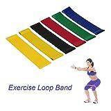 LANDFOX Multifunktion Satz von 6 Loops Übung Workout Resistance Bands Verschiedene Stärke Naturlatex Bands für Home Fitness, Stretching, Physiotherapie, Gym, Yoga