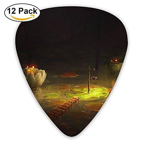 12-Pack Custom Guitar Picks Lily Bridge Flower Standard Bass Guitarist Music Gifts (Guitar Custom Bridge)