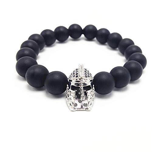 Malidou Grand casque Superman 10mm en perles de cuivre avec agate de cuivre avec bracelet š€ bijoux, Bracelet Superman pour gar?ons, filles (argent)