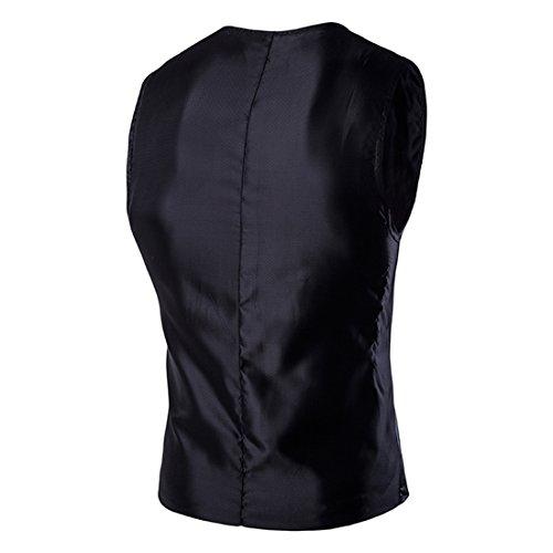 Boom Fashion Mode Veste Sans Manches Slim Homme Matériau Brillant Discothèques Gilet Noir