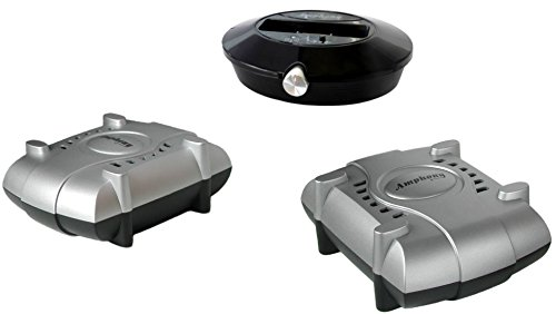 Amphony Lautsprecher-Funkset mit zwei Funkverstärkern, Modell 1800, macht zwei Lautsprecher kabellos, 2x80 Watt, 100 m Reichweite, an jede Quelle anschließbar, bessere Funkübertragung als Bluetooth