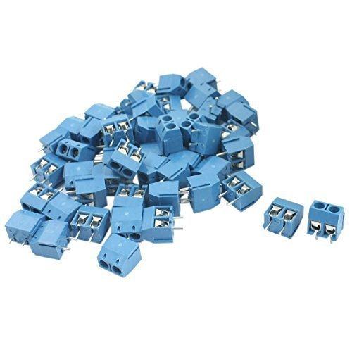 50 pezzi 5 mm passo 2 pin Pluggable tipo colore blu vite Morsettiera 300 V 12 A