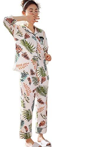 Frauen Frühling Baumwolle Pyjama Set Frauen Lose Druck Shirt Kragen Langärmelige Casual PJS,A-M (Pjs Faulenzen)