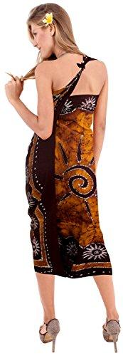 costumi da bagno sarong involucro beachwear del costume da bagno costume da bagno coprire donne del pannello esterno pareo Marrone Caffè 3