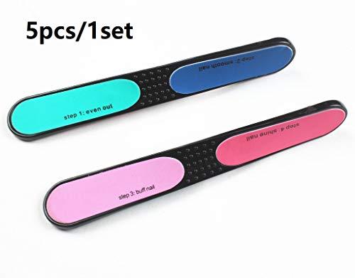 UabpT Nagelstudio Schleif Polieren Datei Nagel Gel Werkzeug 4 Seite Design Maniküre Kunst Zubehör-5Pcs (Farbe : As Shown, Größe : 15 * 2CM)