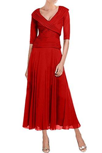 Sunvary Elegant Neu Mutterkleider Knoechellang Chiffon Raffungen Abendkleider Rot
