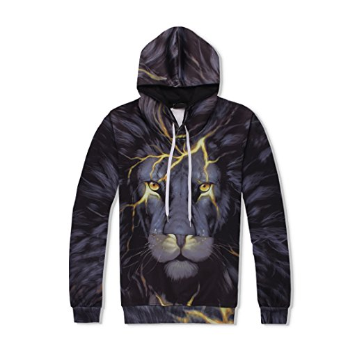 2-Teiliges Set MäNner Frauen 3D TrainingsanzüGe Print Animal Lightning Lion Hooded + Pants Sweatshirt Top XXL