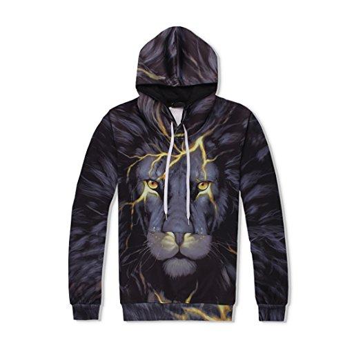 2-Teiliges Set MäNner Frauen 3D TrainingsanzüGe Print Animal Lightning Lion Hooded + Pants Sweatshirt Top ()