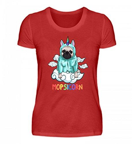 rtiges Damenshirt - Mopsicorn Süßer Mops im Einhornkostüm (Mops Shirt Kostüm)