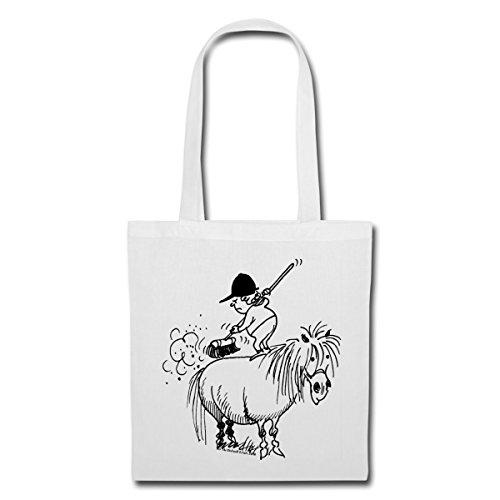 Spreadshirt Thelwell Reiterin Putzt Süßes Pferd Stoffbeutel Weiß