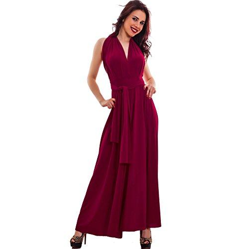 Toocool - Vestito donna abito multisoluzione gonna scollato schiena nuda nuovo WD-3231 Bordeaux