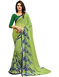 SK Clothing Women's Beautiful New Collection Weightless Georgette Saree With Unstitched Blouse Piece (WL-002)