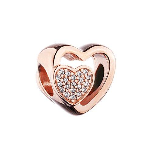 Funshopp autunno integrati cuore rosa chiaro cz diy adatto per originale pandora charm in argento 925bracciali moda gioielli