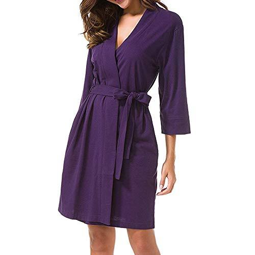QUINTRA Frauen Kleid 3/4 Ärmel Nachtwäsche Kleid Robe Bandage Kimono Bademantel Loungewear
