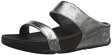 Fitflop Women's Lulu Slide Lustra Sandals, Pewter, 9 UK