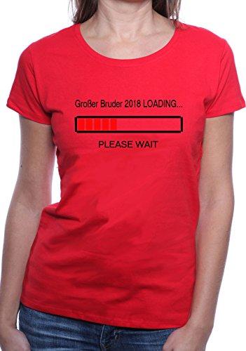 Mister Merchandise Ladies Damen Frauen T-Shirt Großer Bruder 2018 Loading Tee Mädchen bedruckt Rot