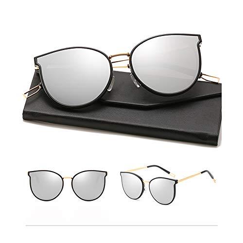 HQMGLASSES 2019 Einfache Stil Damen polarisierte Sonnenbrille Süßigkeiten transparent transparent Promi getönten Brille und Fall, 100% UV400 Schutz für Freizeit/Urlaub,BlackFrame/SilverLens