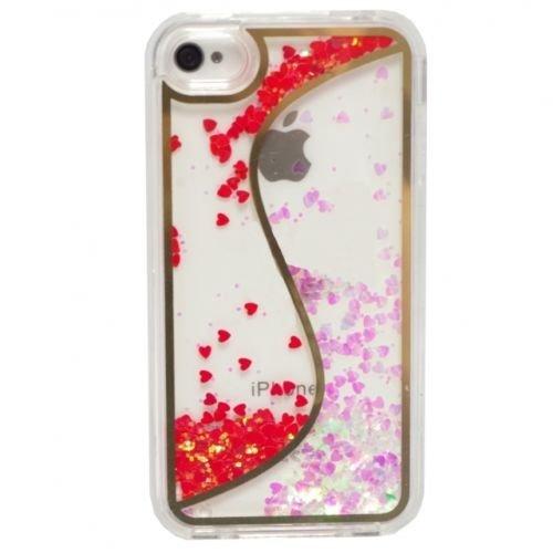 """FUN CASE """"S"""" für Iphone 4 / 4G Handy Cover Hülle Case Glitzer Sterne Flüssig Sternenstaub Hard Case (pink) rot"""