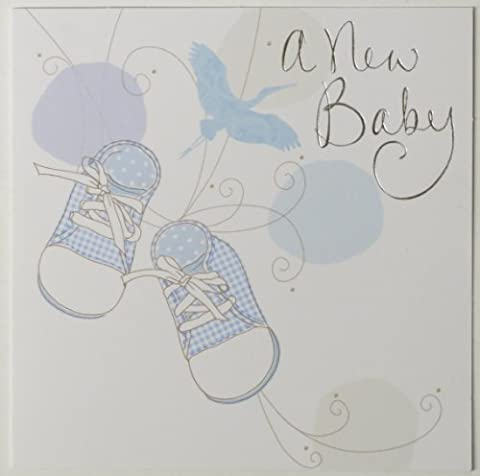 Simon Elvin new baby boy birth announcement cards - blue bird and shoes design - 6 cards with envelopes