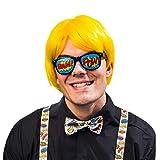 NET TOYS Llamativo Conjunto de Accesorios Pop-Art con Gafas, corbatín y Tirantes | Talla Única | Atractivo Conjunto de Accesorios Unisex Cómic Strip Fiestas temáticas y carnavales