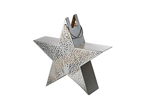 (Kobolo Laterne Windlicht Stern aus Metall mit Lochmuster Kerzenhalter mit Blattmuster)