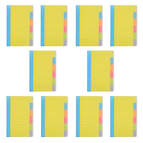 mit Trennstreifen, 9,5 x 15,2 cm, entfernbar, bunt, selbstklebende Notizblock mit Linien, 60 linierte Register, pro Packung für Büro, Zuhause, Schule 10 Stück ()