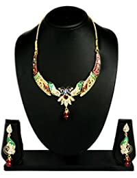 BIG Tree Traditional Wedding Multi-coloured Golden Peacock Necklace Set For Women And Girls