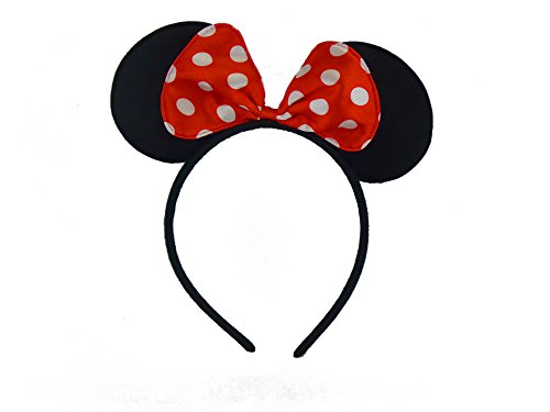 TRIXES Cartoon Mouse Ears on Headband with Red Satin Bow with White Polka Dots