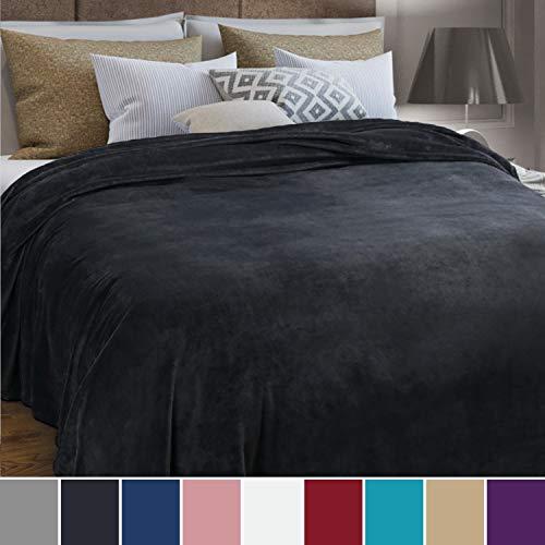 Bedsure Fleecedecke Kuscheldecke XXL Größe Anthrazit, Mikrofaser Flanell Tagesdecke Überwurf 230x270cm, super weiche warme Flauschige Decke für Bett, kuschelige Wohndecke