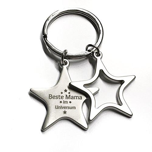 Schlüsselanhänger Sterne 'Beste Mama im Universum' - matt silber mit Gravur - stilvolles Geschenk zu...