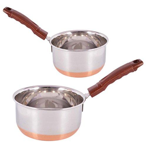 Jalpan Cookware Combo - Sauce Pan 2 Liter Large 18cm - WITH - Sauce Pan 1.5 Liter Medium 17cm - 'Stainless Steel Copper Bottom - MULTIPURPOSE - 2 Pcs. Set'