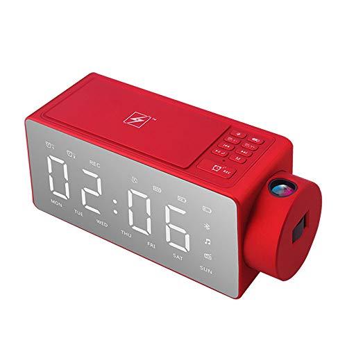 ALRY Wireless Charging Wecker, Digitaler LED-Wecker Mit Qi Wireless-Ladegerät Und Projektions-Wecker Multifunktions-LED-Anzeige,Schwarz