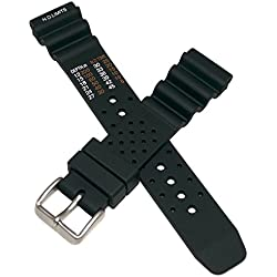 20 mm wide BLACK PU NDL type watch strap to fit Citizen divers watches