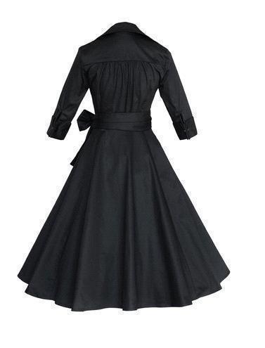 Babyonlinedress Robe de soirée/Bal Courte Rétro Vintage année 40/50 avec Manches Courtes, Style Audrey Hepburn Rockabilly Swing Pois Noir2