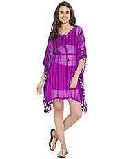 SOURBH Women's Kaftan Top Beach Wear Printed Bikini Boho Body Cover Up Dress Girls