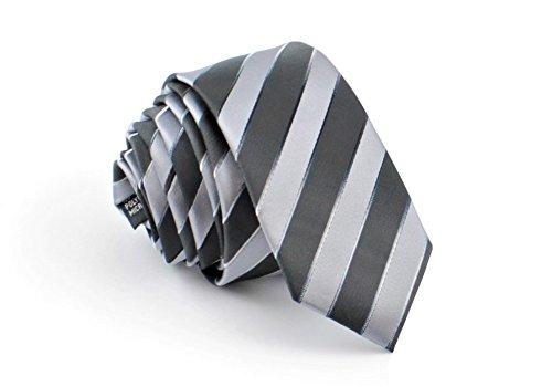 ADAMANT® Designer Krawatte, schmal, verschiedene Farben - TOPQUALITÄT - Moderne uni Krawatten für Business und Alltag - Grau Streifen (Krawatte Streifen Schwarzer Krawatte)