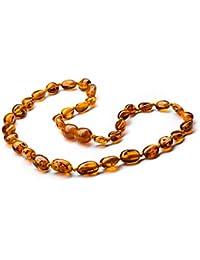 Collier Ambre 34cm - Ambre de la Baltique 100% authentique - Nœuds qui empêchent la destruction Perles d ambre - bijou naturel, fabriqué à la main, certifié authentique. Collier d'ambre