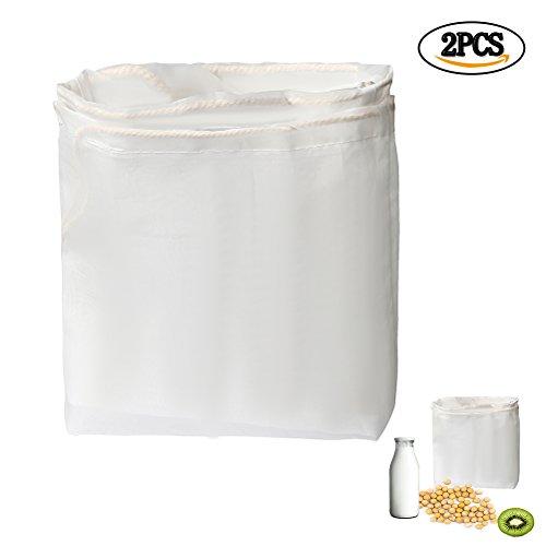 Siming 2Pack Nussmilchbeutel, Fine Mesh Nylon Profi Filter wiederverwendbar Tasche für Mandel Milch, Saft, Quark, Griechisch Joghurt Maker (Soja-milch Maker)