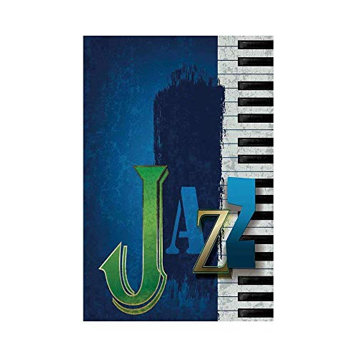 Liumiang Eco-Friendly Manual Custom Garden Flag Demonstration Flag Game Flag,Jazz Music,Abstract Cracked Jazz Music Background with Piano Keys Music Themed Print,Navy Green White d¨¦COR