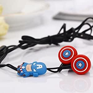 Advent basics™ CAPTAIN AMERICA AVENGERS K-13 In-Ear Earphone,Includes 3 Additional Earplug Covers - Great For Kids, Boys, Girls, Adults, Gifts Stereo Dynamic Wired Headphones.